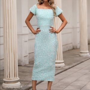 Pastel green off shoulder sequin puff sleeve dress